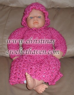 Pink Baby Doll Dress, Shrug and Hat Pattern